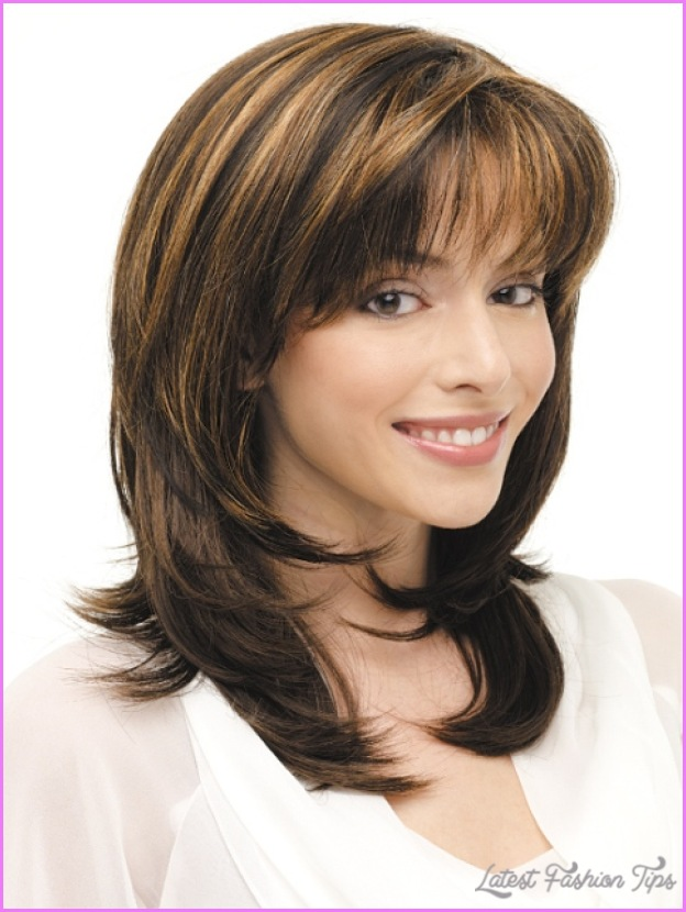 Medium Length Haircuts No Bangs Layers Latestfashiontips