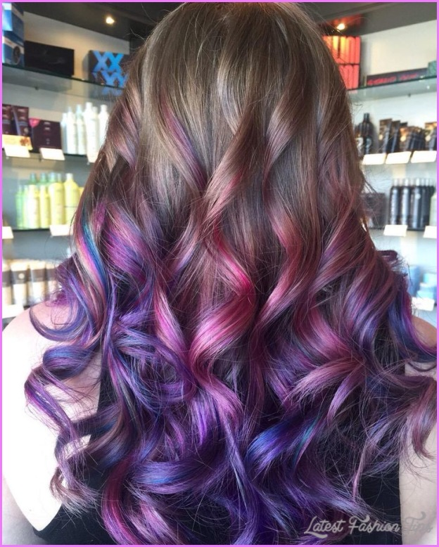 Brown hair with purple streaks