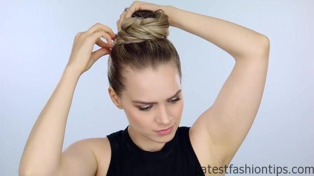 Spine Braided Bun Hair Tutorial Inspired 09