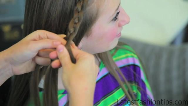 4-Strand Slide-Up Braid Cute Girls Hairstyles 09