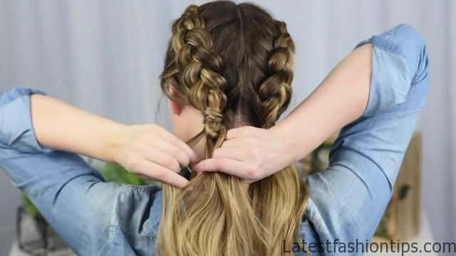 Beautiful Double Dutch Fishtails _ DIY Hair Tutorials_HD720 09