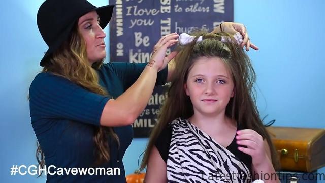 Cave Woman Half-up _ Halloween Hairstyles _ Cute Girls Hairstyles_HD720 06