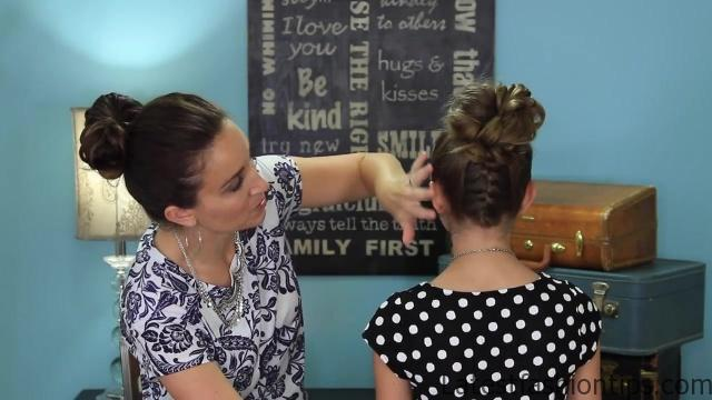 Double French Messy Bun _ Updo Hairstyles_HD720 22