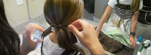 Double Knots into Side Ponytail _ Cute Girls Hairstyles_HD720 14