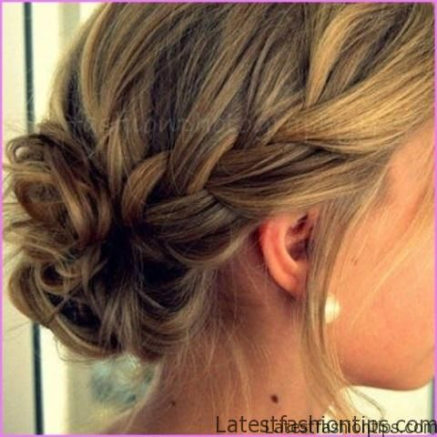 Accent Braid into Messy Bun Hairstyles