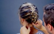 easy five strand braid updo for short hair 53