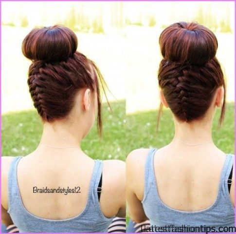 upside down french braid bun style hairstyle 0 Upside Down French Braid Bun Style Hairstyle