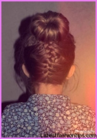 upside down french braid bun style hairstyle 1 1 Upside Down French Braid Bun Style Hairstyle