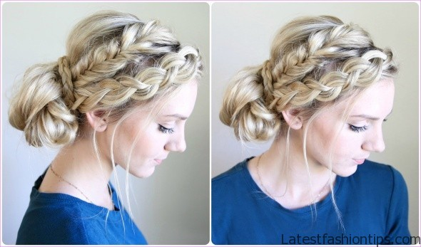 upside down french braid bun style hairstyle 17 Upside Down French Braid Bun Style Hairstyle