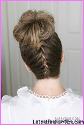 upside down french braid bun style hairstyle 3 1 Upside Down French Braid Bun Style Hairstyle