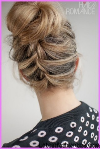 upside down french braid bun style hairstyle 4 1 Upside Down French Braid Bun Style Hairstyle