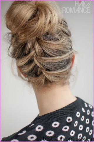 upside down french braid bun style hairstyle 4 Upside Down French Braid Bun Style Hairstyle