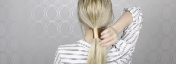 diy gold ponytail hair cuff simple hair accessory 15