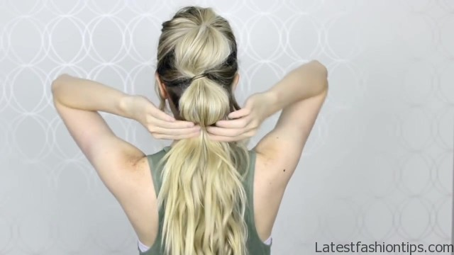 how to easy bubble ponytail medium long hair 17
