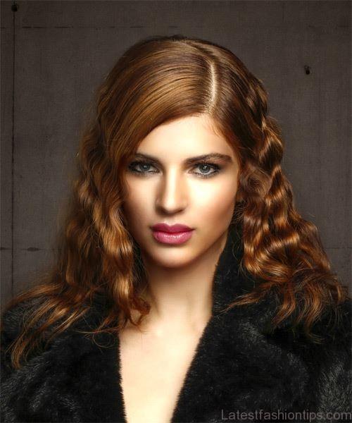 Dark auburn red with bayalage highlights hairstyle