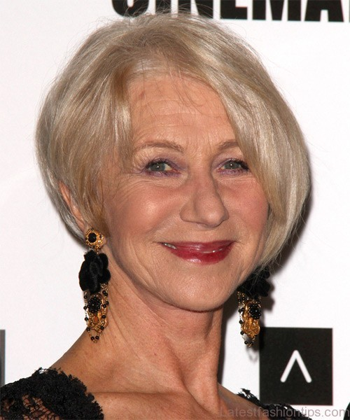 Helen Mirren Short Straight Formal Hairstyle - Light Champagne Blonde Hair Color