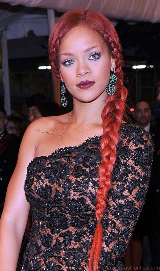 Plaited Rihanna Style Side braids Hairstyle