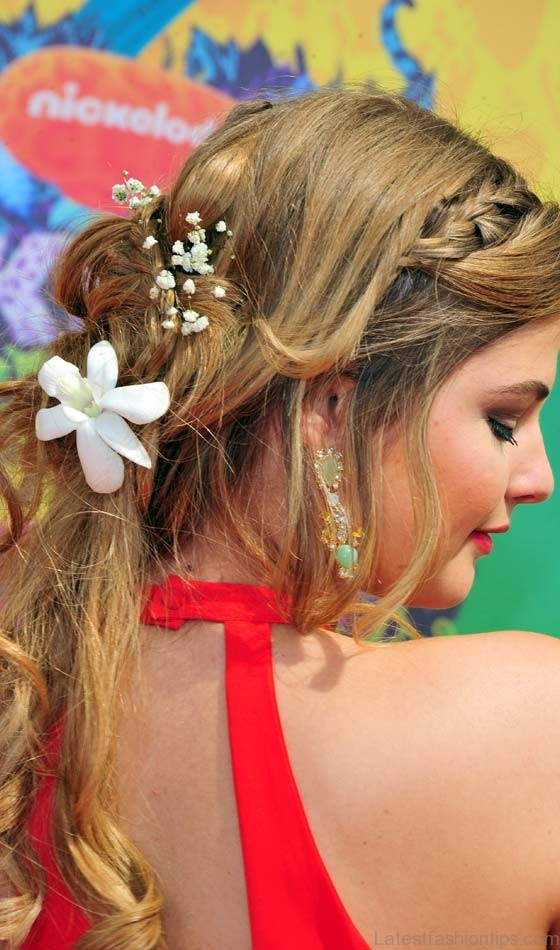 Real Flowers Plaited Hairstyle
