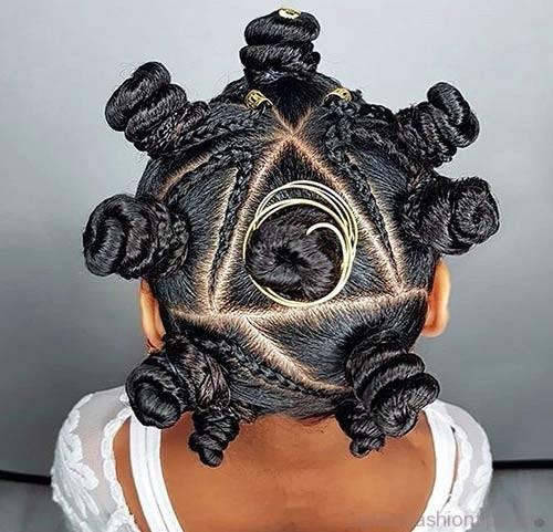 Best Bantu Knots Hairstyles - Braided Triangular Bantu Knots