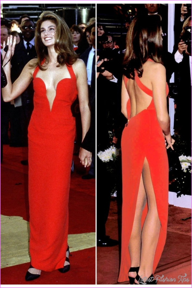 Cindy Crawford Oscars 1991 Red Sweetheart Open Back Prom Dress For Sale
